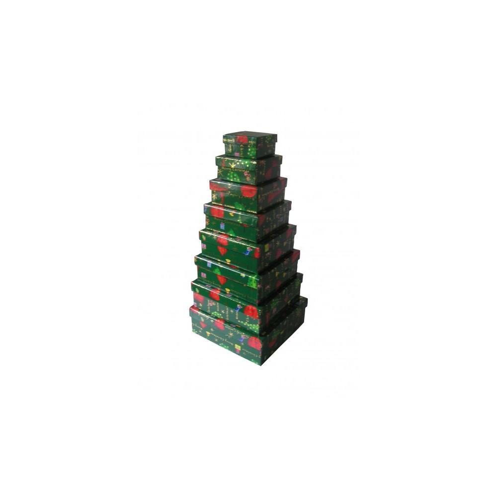 8 geschenkkarton weihnachten tannenbaum gr n mit pilzdekor. Black Bedroom Furniture Sets. Home Design Ideas
