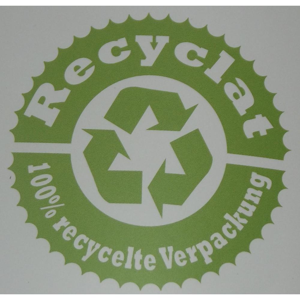 400 Recyclat Flachbeutel transparent mit grünem Recyclat-Logodruck 400x600 50mµ